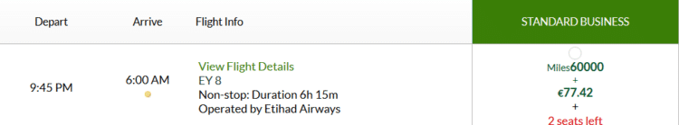 Alitalia Millemiglia Praemienflug Etihad Business Class Fra Auh