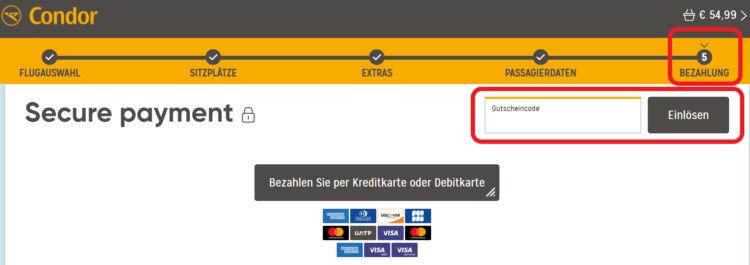 Condor Gutschein 20 Euro Rabatt Kurzstrecke Mittelstrecke
