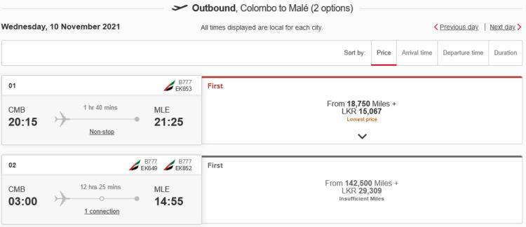 Emirates Skywards Praemienflug Cmb Mle