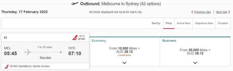Emirates Skywards Praemienflug Qantas Mel Syd