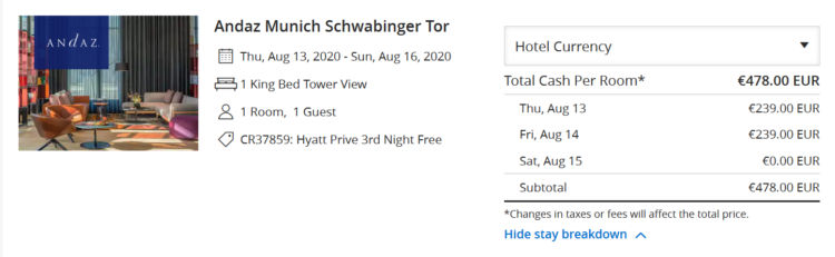 Hyatt Prive Pay2 Stay3 Aktion Andaz Muenchen