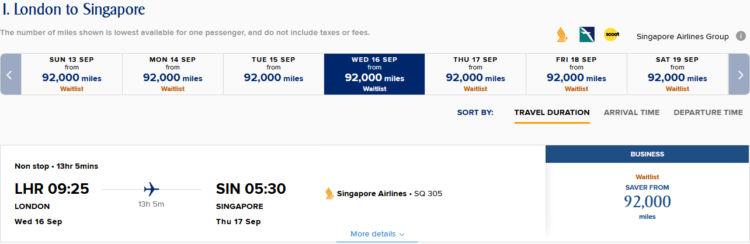 Singapore Airlines KrisFlyer zeigt in der überarbeitenden Kalendersuche nun die Verfügbarkeit an