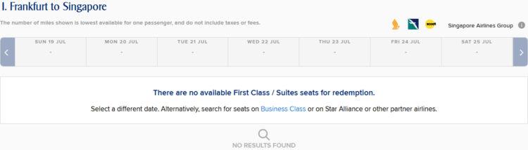 Singapore Airlines Kris Flyer First Class Kalendersuche überarbeitet