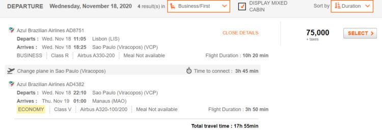 Prämienflug von Aeroplan von Lissabon über Sao Paulo nach Manaus mit Azul