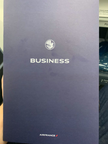 Air France Business Class Menu 1