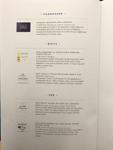 Air France Business Class Menu 3