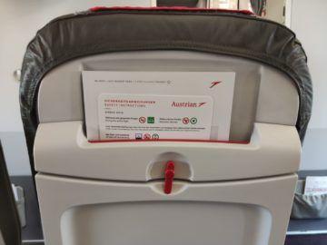 Austrian Airlines A319 Sitz Hinten