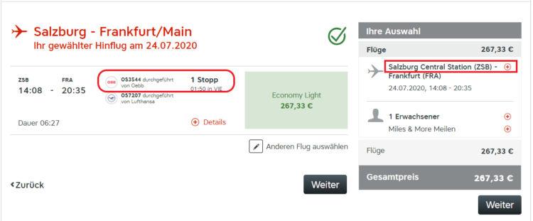 Austrian Airlines Airail Beispiel