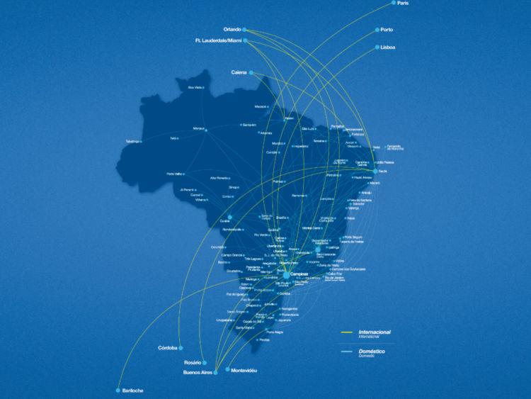 Azul Brazilian Airlines Streckennetz