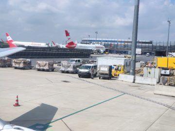 Flughafen Wien Boeing 767 Ausblick Vom Flugzeug