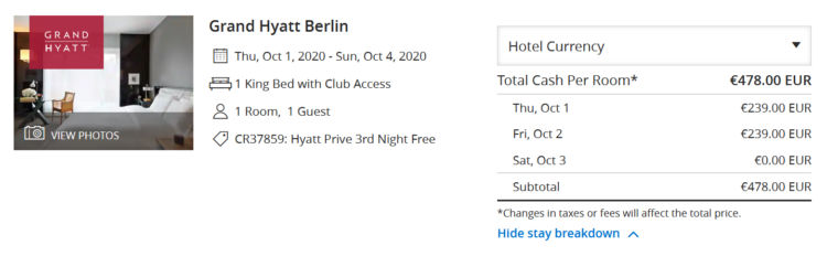 Hyatt Prive Aktion Grand Hyatt Berlin