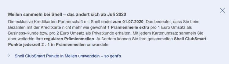 Miles And More Kreditkarte Partnerschaft Shell Endet Juli 2020