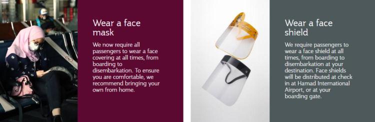 Auf Flügen von Qatar Airways muss eine Maske und ein Visier getragen werden