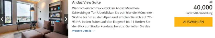 World Hyatt Buchung Andaz Munich Andaz View Suite Punkte