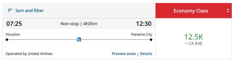Aeroplan Praemienflug United Economy Class Houston Panama City