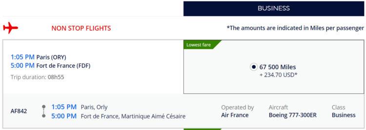 Air France Flying Blue Praemienflug von Paris nach Martinique in Business Class