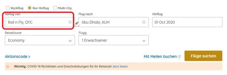 Etihad Rail & Fly Abfrage ab Deutschland nach Abu Dhabi
