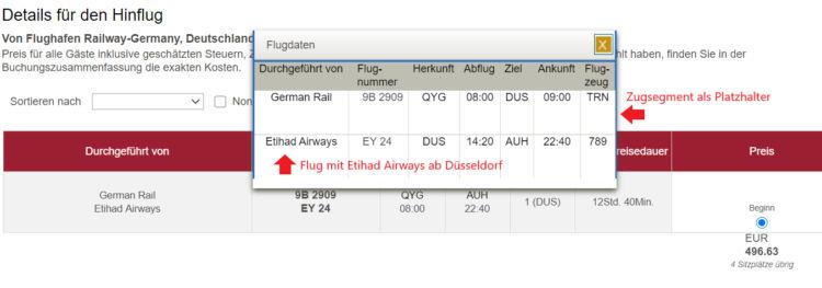 Etihad-Verbindung mit Rail & Fly ab Deutschland nach Abu Dhabi