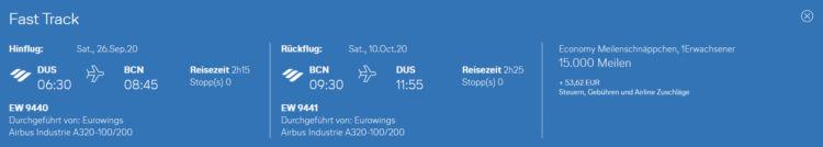Eurowings Meilenschnaeppchen August 2020 Barcelona