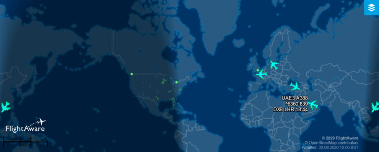 Flightaware Airbus A380 2020 08 22