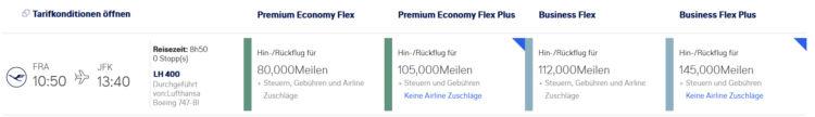 Miles And More Flex Plus Tarif Business Class Frankfurt New York