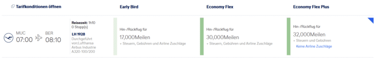 Miles And More Flex Plus Tarif Economy Class Muenchen Berlin
