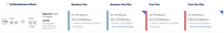 Miles And More Flex Plus Tarif First Class Frankfurt Tokio