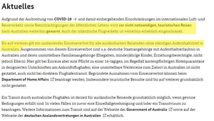 Auswaertiges Amt Sicher Reisen Australien Einreisebestimmungen