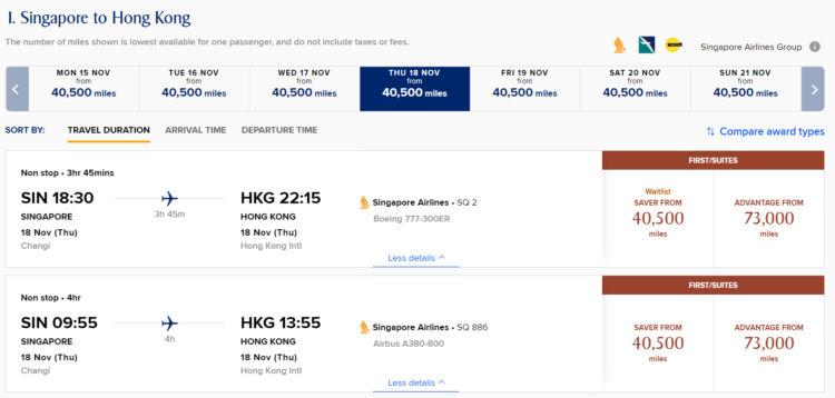 Krisflyer Praemienflug Singapore Airlines Suite Class Singapur Hongkong