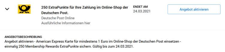 Amex Offers Deutsche Post Online Shop