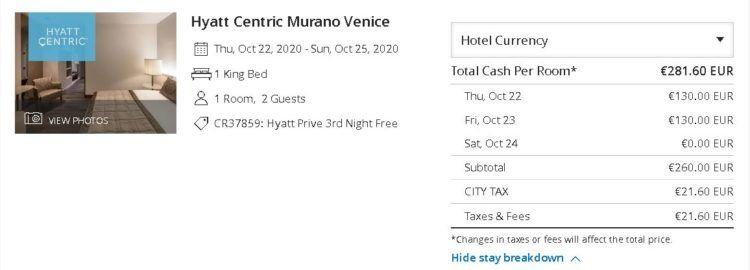 Hyatt Centric Murano Venice Prive Rate Copyright