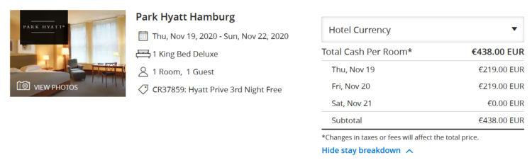 Hyatt Prive Aktion Third Night Free Park Hyatt Hamburg
