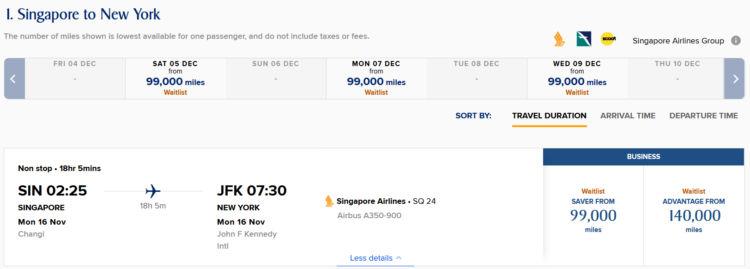 Krisflyer Praemienflug Singapore Airlines Business Class Sin Jfk