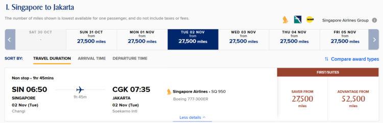 Krisflyer Pramienflug Singapore Airlines First Class Singapore Jakarta