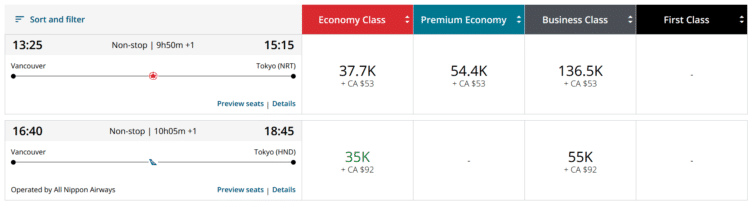 Aeroplan Praemienflug Ana Business Class Vancouver Tokio
