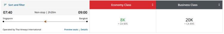 Aeroplan Praemienflug Thai Airways Singapur Bangkok