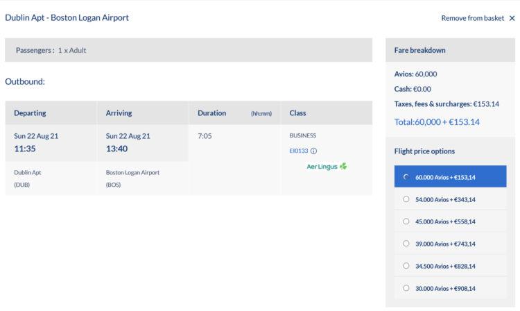Avios Com Praemienflug Aer Lingus Business Class Dublin Boston