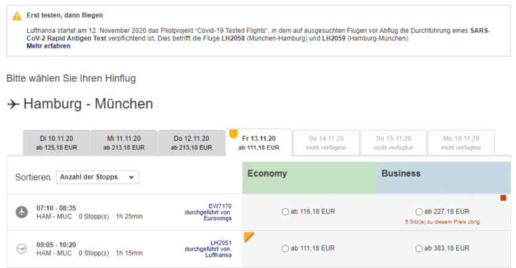 Lufthansa Hinweis Corona Schnelltest