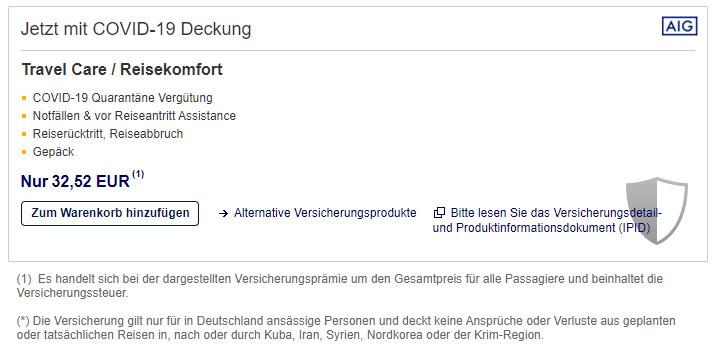 Lufthansa Reiseversicherung Corona Bei Buchung Hinzufuegen