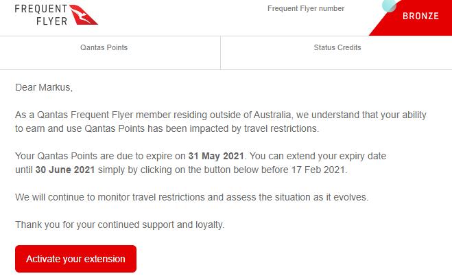 Qantas Verlaengerung Meilengueltigkeit