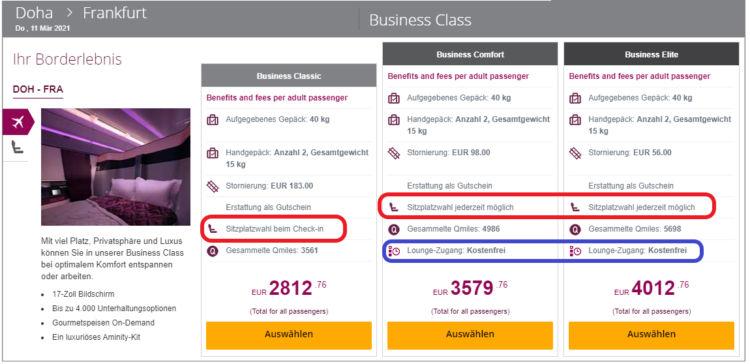 Qatar Airways Business Class Übersicht der neuen Tarifstruktur