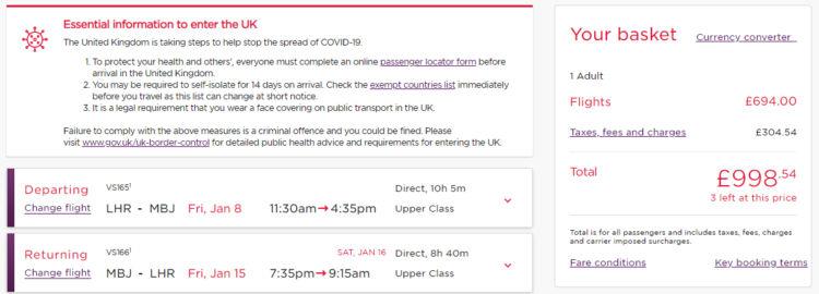 Virgin Atlantic Black Friday Angebote Business Class Jamaika