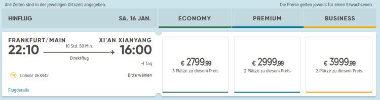 Flugpreis Condor Frankfurt Xian