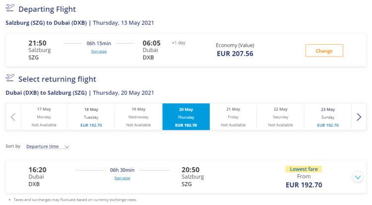 Flydubai Salzburg Dubai Ticketpreis