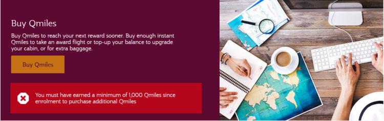 Qatar Airways Qmiles Kaufen Mindestens 1000 Meilen