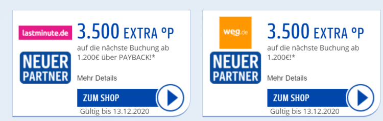 Weg Lastminute Payback Coupons