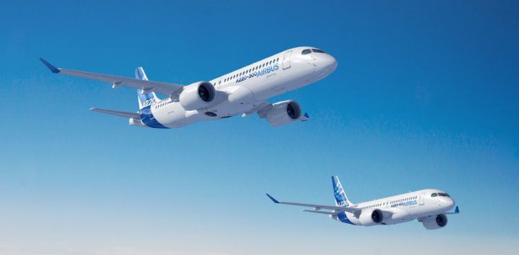 Airbus A220 Familie Rendering Copyright