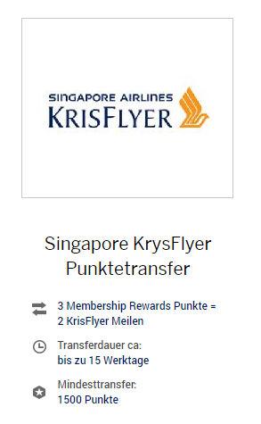 Neues Tauschverhältnis (3 zu 2) Membership Rewards Punkte zu Singapore Airlinse KrisFlyer