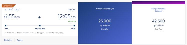 Delta Skymiles Praemienflug Klm Business Class Frankfurt Dubai