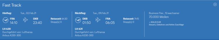 Miles And More Praemienflug Lufthansa Business Class Frankfurt Dubai